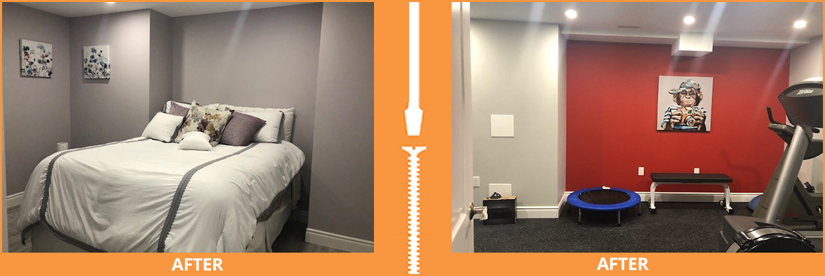 Completed bedroom and workout room