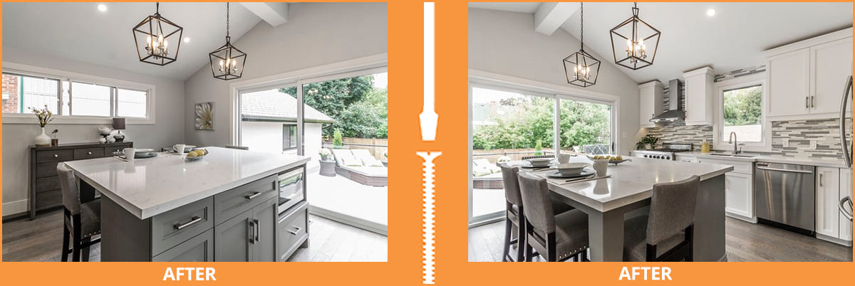 Bright kitchen with dining table island