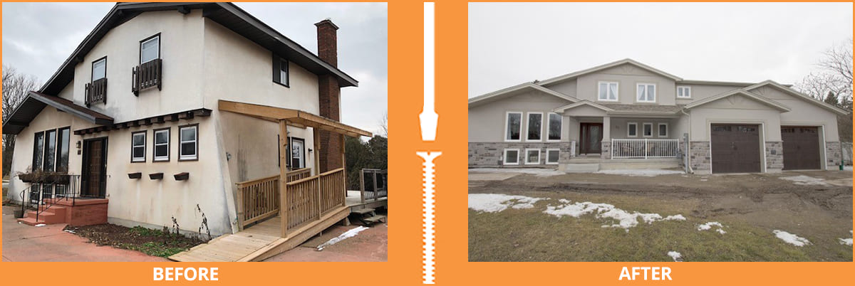 House with and without garage