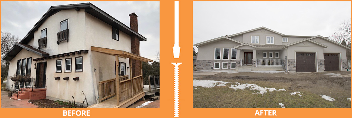 Before and after of house with added garage