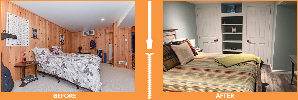 Basement bedroom before and after