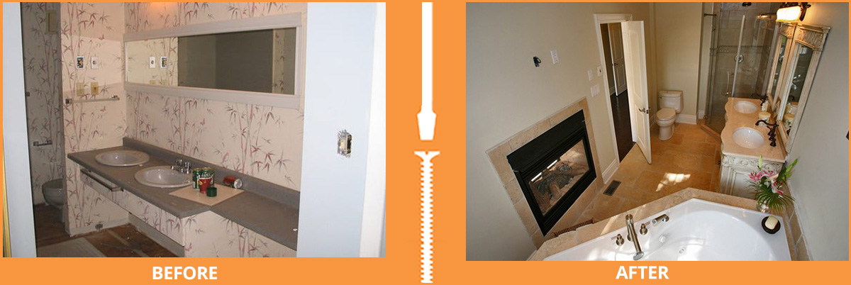 Before and after bathroom with fireplace