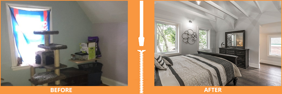 Before and after bedroom with ceiling beams