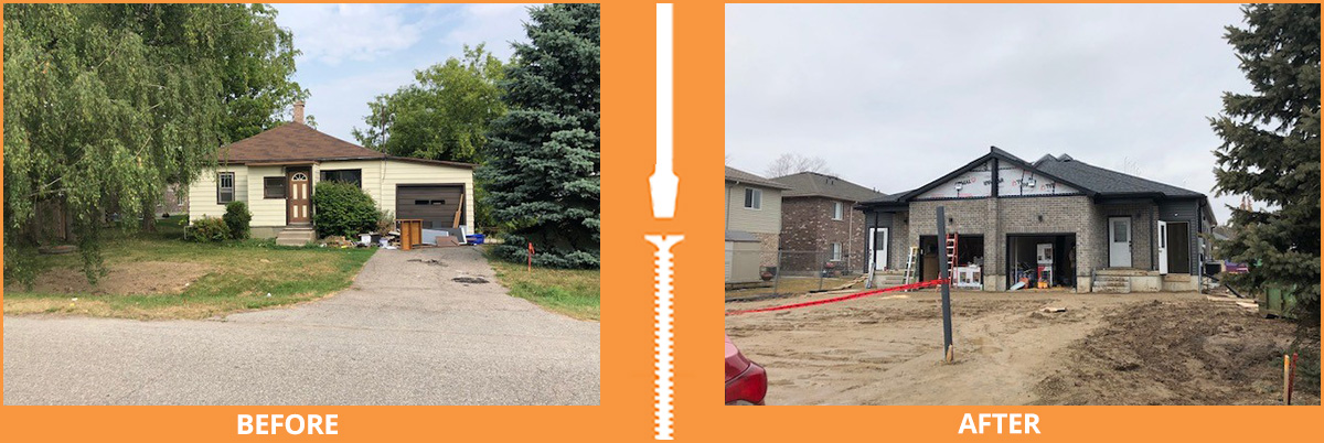 Before and after house construction