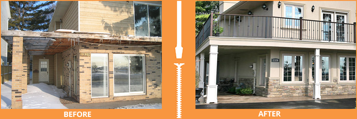 Before and after exterior renovation on historic cottage
