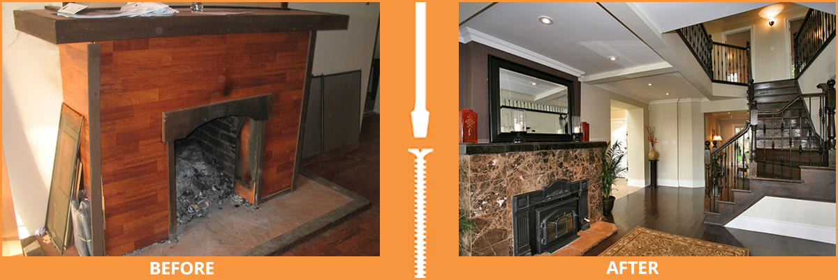 Fireplace before and after renovation