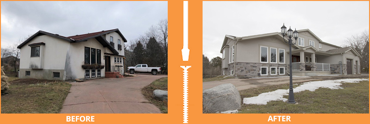 House with full exterior renovation before and after
