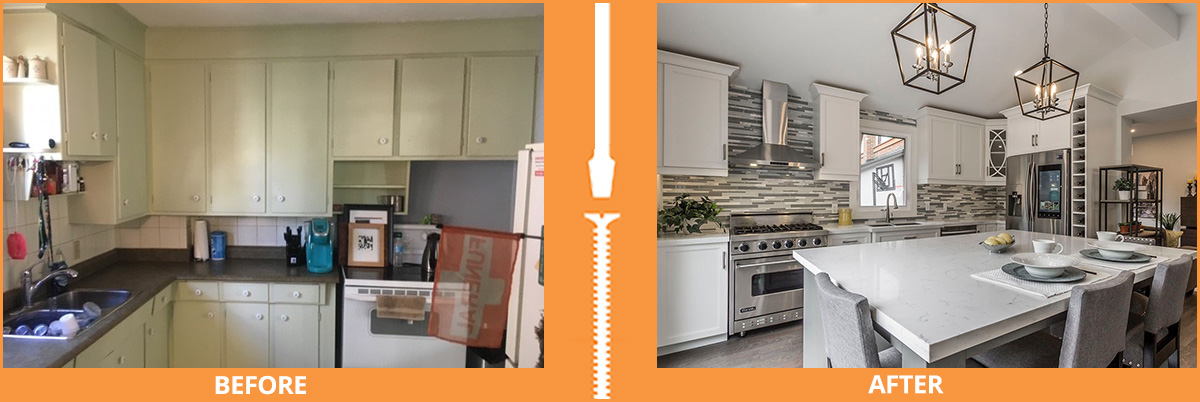 Before and after kitchen and dining set