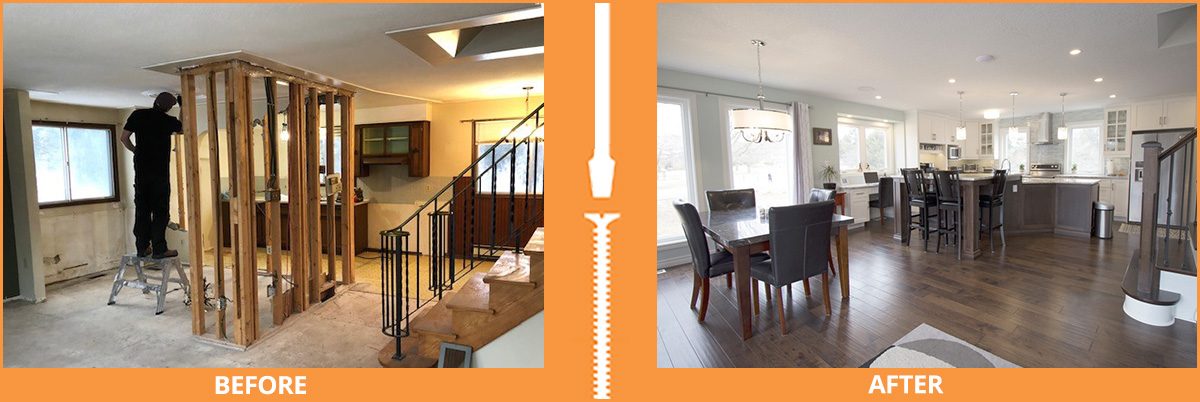 Before and after open kitchen renovation