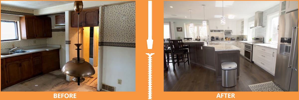 Before and after opened kitchen