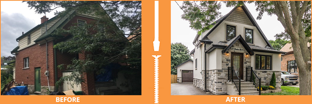 Before and after outside house renovation