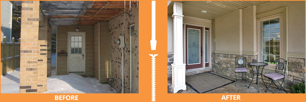 Completed before and after side entrance