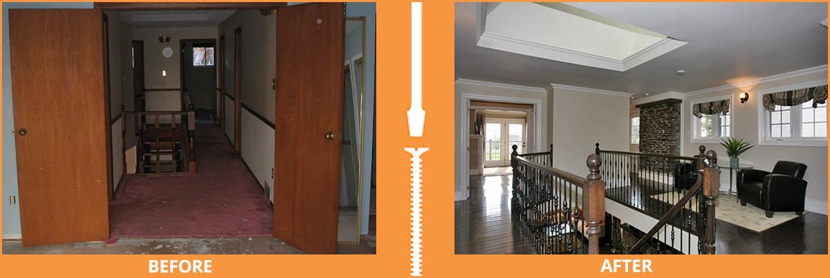 Constricted to open upper hallway