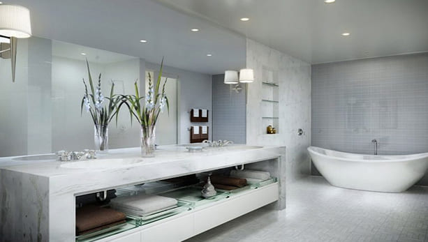 Beautiful white marble bathroom renovation