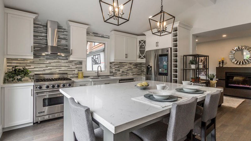 stylish kitchen with table and chairs